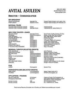 Avital Asuleen Director Choreographer Resume Small