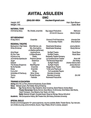 Avital Asuleen Performer Resume small